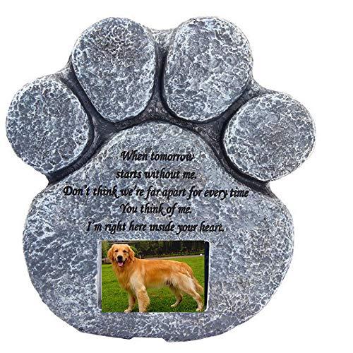 """Meiyaa - Piedra Conmemorativa para Mascotas, diseño de Huellas de Pata con Marco de Fotos (2"""" x 3"""") para pérdida de Perro o Gato"""