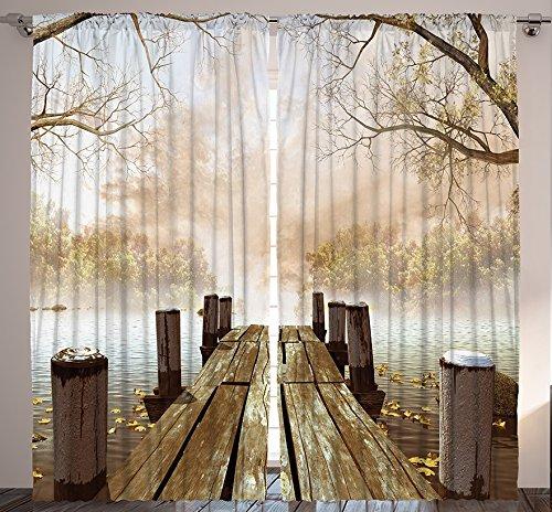 Ambesonne Vorhänge für Wohnzimmer Collection, Fall Holz Brücke Vorhänge Rustikaler Country Home Dekorationen für Schlafzimmer Kinder Natur Bild Artwork 2Platten Set, Multi 1, 108