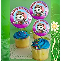 12 Happy Birthday Sheriff Callie Inspired Party Picks, Cupcake Picks, Cupcake Toppers #1 by Crafting Mania LLC.