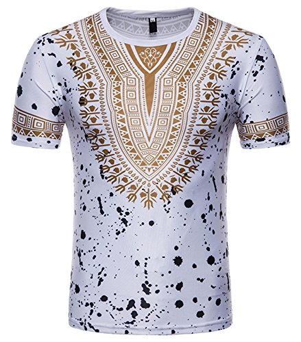 Whatlees Herren Urban Basic Slim Fit 3D Druck T-Shirt mit African Dashiki Druckmuster