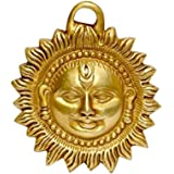 """ART SWAG Brass Idol of Sun Face Wall Hanging for Positivity at Home & Office, Product Size - L×W×H = (4"""")(10cm)×(0.5"""")(1.5cm)"""