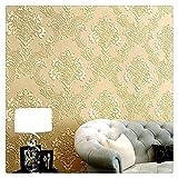 XWXBB Carta da parati satinata per camera da letto, Luxus, tinta unita, motivo floreale, effetto damascato, 53 cm x 10 m, colore: crema/giallo