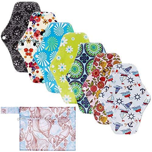 KAIMENG Wiederverwendbare Hygieneartikel Waschbare Menstruationskissen, 7 Stück Wiederverwendbare Bambuskohle 1 tragbare Mini-Tasche (Zufälliges Modell)