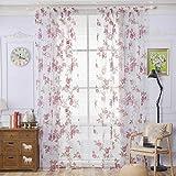 Sundlight Tenda della finestra del fiore della Rosa Tulle del floreale del portello del voile / finestra / tenda della stanza della tenda