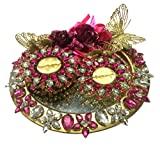 #8: Loops n knots Hot Pink Round Wedding Ring Platter With 2 ring Holders