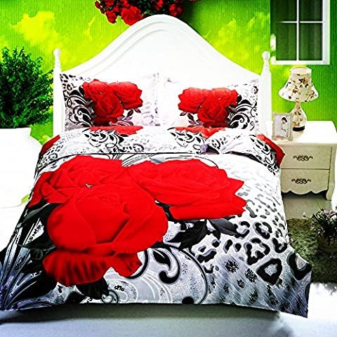 Stillshine 3D Flowers Floral Red Roses Pattern Queen Size Bedding Quilt Duvet Cover Set (Queen)