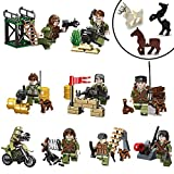 Mini Figures Set - 9 Pcs Army Minifigures with Military Weapons Accessories, Toy Soldiers SWAT Team with Kids Building Bricks, Army Military War Games Mini Dogs Horses Building Block Toys (9 Pcs Army Minifigures)