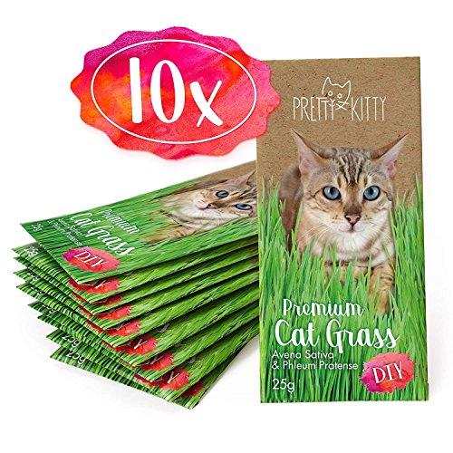 PRETTY KITTY 10x Premium Katzengras Samen von PrettyKitty, 10 Beutel Set mit Saatmischung für 100 Töpfe
