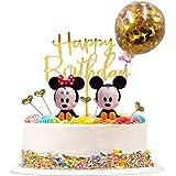 FANDE Decoracion para Tartas, 9 piezas Tarta de Mickey de Cumpleaños Globo de Confeti Happy Birthday Topper Estrellas para Fi