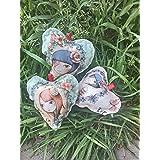 Set: 3 Dekoherzen Baumwolle genäht für Hochzeit Geschenk aufhängefertig Hängedeko Stoff Romantik