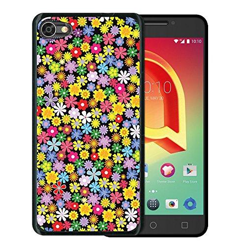 WoowCase Alcatel A5 LED Hülle, Handyhülle Silikon für [ Alcatel A5 LED ] Blumen Handytasche Handy Cover Case Schutzhülle Flexible TPU - Schwarz