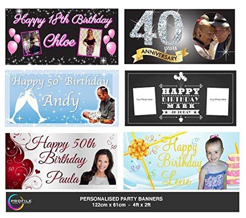 Personalisierte Geburtstags Party Banner-auch eigenen Foto, Name und persönliche Nachricht-Größe ist 122cm x 61cm von Profil Schild
