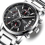 NIBOSI Herrenuhren Chronograph Quartz Uhren mit Edelstahl Schwarz Armband Armbanduhr für Herren