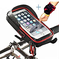 Bike Pouch Bike Handlebar Bag Waterproof Bicycle Phone Mount Holder, Bike Frame Bag/ Top Tube Touch Bag with Transparent Touchable Pouch Case for Smart Phone Below 6 inch (Black-Red)