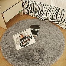 Alfombra redonda, CONMING Shaggy piso alfombra Super alfombra suave almohadillas antideslizante piso alfombra antideslizante desgaste yoga esterilla para sala de estar dormitorio y más 100 x 100 cm (gris)