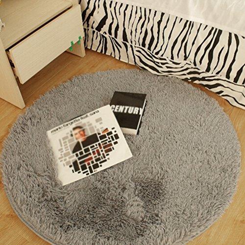 Runder Bereich Teppich, CONMING Shaggy Boden Matte Super Soft Teppich Pads Anti-Rutsch Boden Matte Teppich Anti-Skid Wear Yoga Mat für Wohnzimmer Schlafzimmer und mehr 100 x 100 cm (grau)