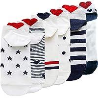 BEIFON 6 Paia Calzini Natale Calze Donna Cotone Calze Corte Calzini Caviglia Traspiranti Calzini Cuore Cartone Animato…