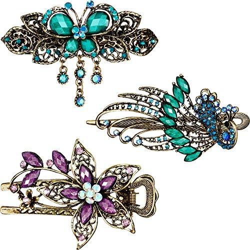 3 Stück Damen Haarspangen Haarnadeln Retro Vintage Schmuck Lila Blume Grün Schmetterling Grün Pfau