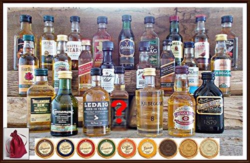 Adventskalender 24 Whisky Miniaturen mit 24 DreiMeister Edel Schokoladen & 24 rote Satinbeutel, kostenlose Lieferung