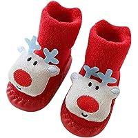 Zerototens Baby Christmas Socks,0-24 Months Toddler Kids Infant Boy Girls Red Santa Deer Anti-Slip Boots Socks Baby Step…