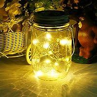 Mason Jar Licht, Solar 20Leds Glas Hängeleuchte Outdoor String Laterne Dekoration für Zuhause Party Garten