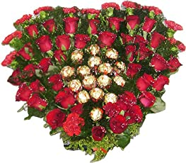 FERRERO STORIES Heart Shape Bouquet with 16 Ferrero Rocher Chocolates (50 Red Roses)