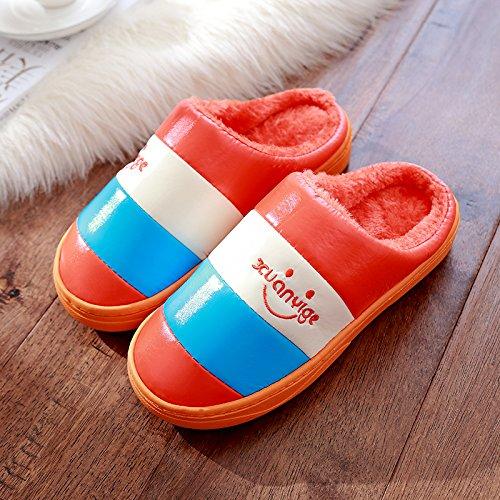 DogHaccd pantofole,Inverno pantofole di cotone femmina maschio INVERNO Pacchetto soggiorno spesso le coppie indoor anti-slittamento peluche home pantofole inverno Arancione3