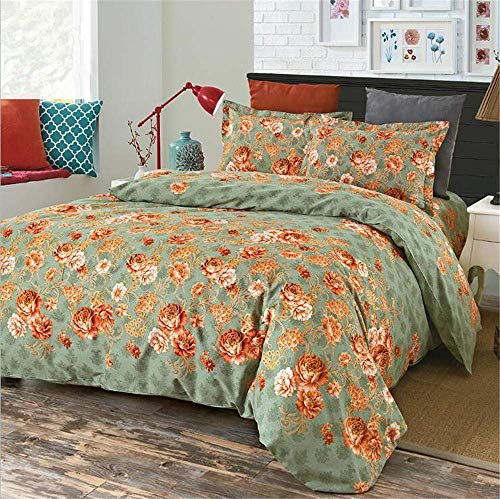 Floral Bettbezug Single with Ties Grün, 100% Baumwolle Hypoallergenic Daunendecke Bettbezug und Pillow Sham