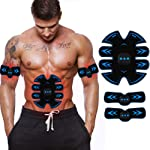 ABS Stimulator Muscle Toner, Rechargeable EMS Abdomen Muscle Trainer with 10 Modes 15 Levels, Muscle Toner Toning Belt...