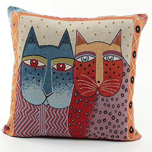 (joielavie Kissenhülle Kissenbezug Katze Tier Cartoon Augen Blume Herz Mond Soleil Leinen Baumwolle Mischung quadratisch Sofa Bett Home Maison Sofa 45x 45cm #H)