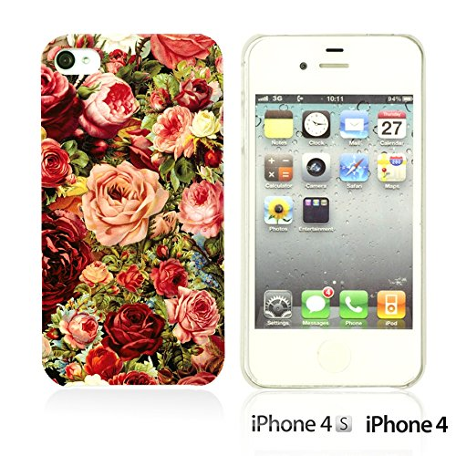 OBiDi - Fabric Pattern Hard Back Case / Housse pour Apple iPhone 4S / Apple iPhone 4 - Pink Boho Pattern Vintage Roses Painting
