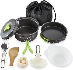 Tofree Camping Kochgeschirr Kit Kochen Ausrüstung 8-Teiliges Kochset mit Nylon Tasche Topf Schalen für Wandern Outdoor