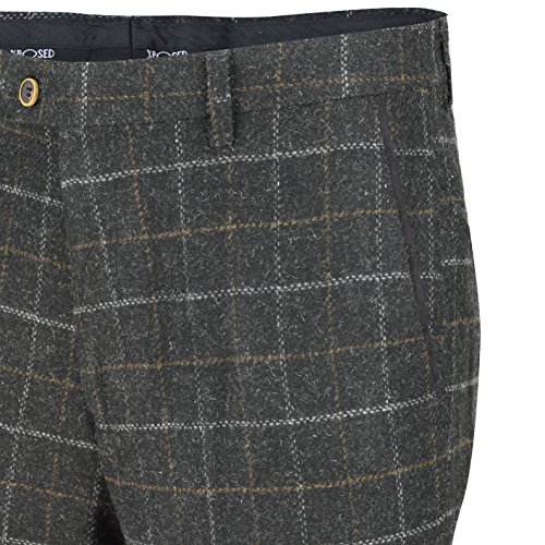 Xposed tweed Check 3 tuta Blazer pantaloni da gilet venduto come separa Trouser-Charcoal Grey