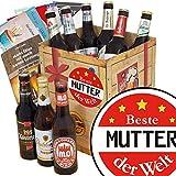 Beste Mutter der Welt | Geschenk Box Bier | Bierbox DDR | Beste Mutter der Welt | Bier Paket | kleines Geschenk für Mutter Geburtstag | INKL 3 Urkunden, 6 Geschenkkarten + Umschläge, Bier Bewertungsbogen