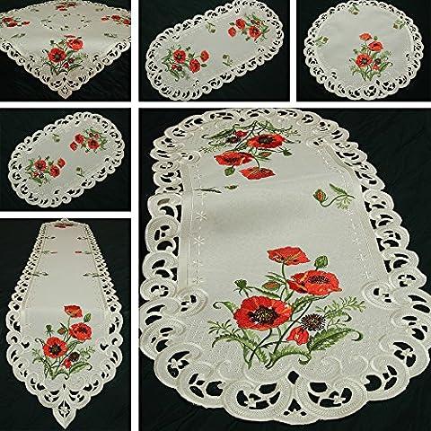Quinnyshop Coquelicot rouge Broderie Chemin de table 30 x 45 cm Ovale Polyester, Crème