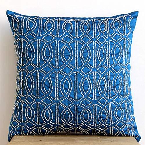 The HomeCentric Königsblau Akzent Kissen, zeitgenössisch Geometrisch Kissen-, 30x30 cm Kissen Fall, Art Silk Platz Zierkissen Abdecken, Lattice Trellis Pattern Kissen Decken - Geometric Royal Blue -