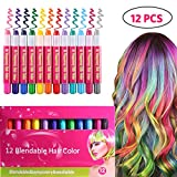 ROTEK Hair Chalk, 12 Color Temporary Hair Chalk Pens Set Birthday Gifts for Girls, Non-Toxic Washable Instant Hair Dye Great for Party Halloween Girls Christmas Birthday Present Age 3+