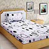 "AEROHAVEN™ Cotton Comfort 160 TC Cotton Single Bedsheet(60"" X 90"") With 1 Pillow Cover(16"" X 26"") (Black)"