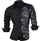 jeansian Men's Fashion Long Sleeves Shirts Casual Dress Tops Slim Fit 8397