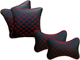 Auto Pearl NckRst_4pc_Black_Red_AllCars Neck Rest Cushion for All Cars (Set of 4, Black)