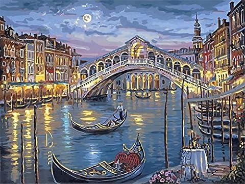 Obella Peinture par numéros Kits issu de la gamme romantique Lune Nuit 50x 40cm issu de la gamme Peinture par numéros numériques, peinture à l'huile, sans cadre