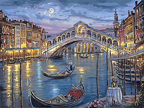 OBELLA Malen nach Zahlen Kits || Romantische Mondnacht, Bogen brücke Boots gebäude landschaft 50 x 40 cm || Malen nach Zahlen, DIGITAL Ölgemälde (Ohne Frame) (Kalb Weit Boot)