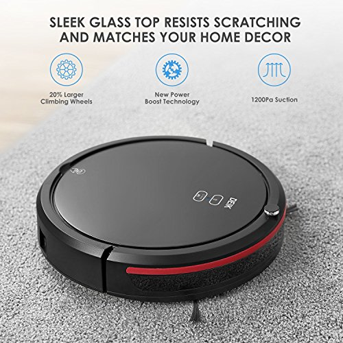 Deik Robot Vacuum Cleaner, Robotic Vacuum Cleaner with Self-charging & Drop-sensing, 5 Cleaning Modes, Anti-Spill Dustbin 0.9L, 1200Pa High Suction for Pet Fur and Allergens