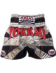 "'yokkao Champion Muay Thai Pantalones Cortos ""buakaw, hecha de satén, color negro/plateado, tamaño M (28"")"