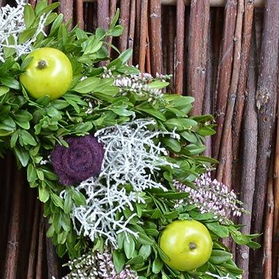 Blumenversand - Blumenstrauß versenden - zum Geburtstag - Herbstkranz Erikafarben - Türkranz mit frischem Buxbaum - - mit Gratis - Grußkarte zum Wunschtermin versenden von Der Renner - Blumenversand bei Du und dein Garten