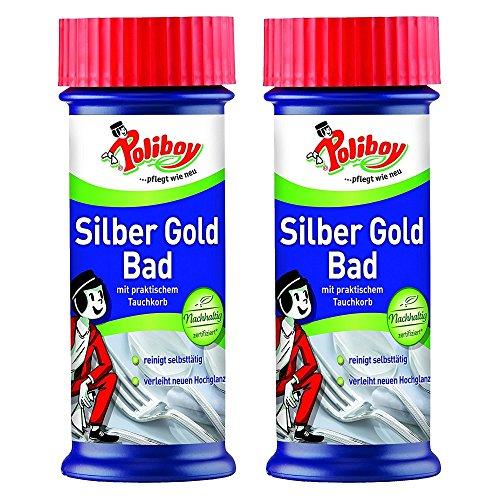 Poliboy - Silber Gold Bad - mit praktischem Tauchkorb - verleiht neuen Hochglanz und reinigt selbstständig - Silberreinigung/Schmuckreiniger - 2er Pack - 2x375 ml (750ml) - Made in Germany