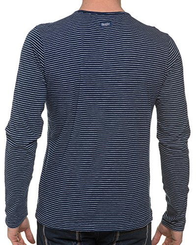 Petrol Industries - T-Shirt Long Sleeve Navy Stripe Blau