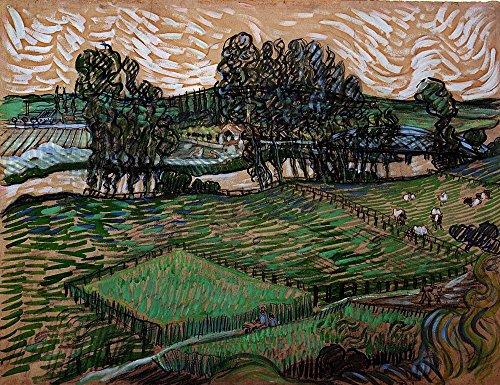 Spiffing Prints Vincent Van Gogh - Landscape with Bridge Across The Oise, 1890 - Large - Matte Print -