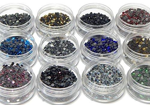 12000 Hotfix Strasssteine, 3mm SS10 AAA Qualität, zum Aufbügeln 12 Farben mit Sortierbox Glitzersteine Rhinestone Glass Strass Perlen Selbstklebend Hot Glue