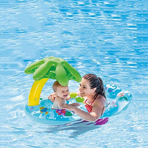 DZW Eltern-Kind-Kreis-Mutter-U. Baby-Schwimmen-Floss mit Aufblasbarer Sonnenschutz-Überdachung, Swimmingpool-Floss-Spielzeug